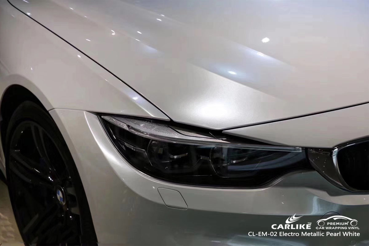 CARLIKE CL-EM-02 electro metallic pearl white car wrap vinyl for BMW