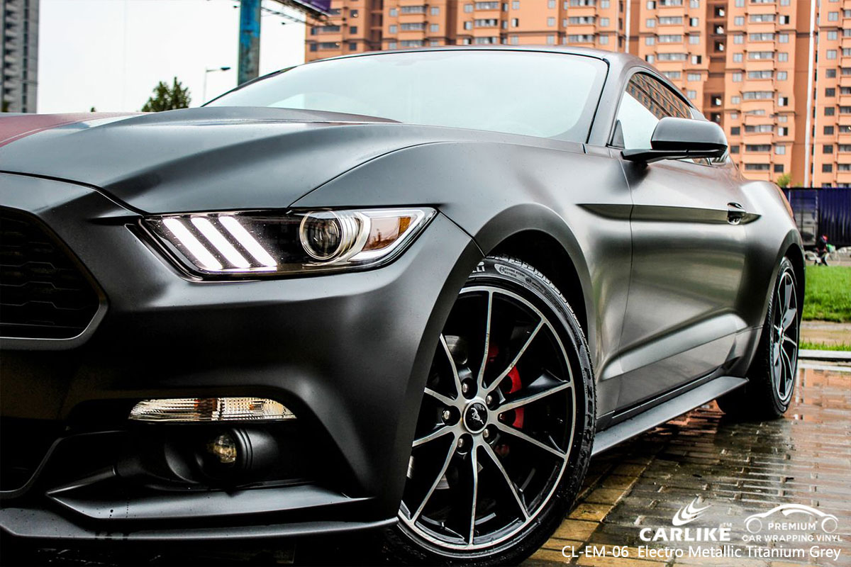 CARLIKE CL-EM-06 electro metallic titanium grey car wrap vinyl for Mustang