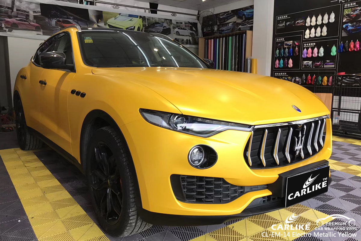 CARLIKE CL-EM-14 electro metallic yellow car wrap vinyl for Maserati