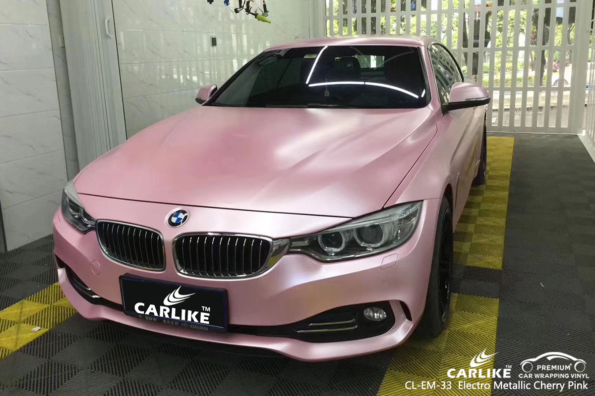 CARLIKE CL-EM-33 electro metallic cherry pink car wrapping vinyl in different car