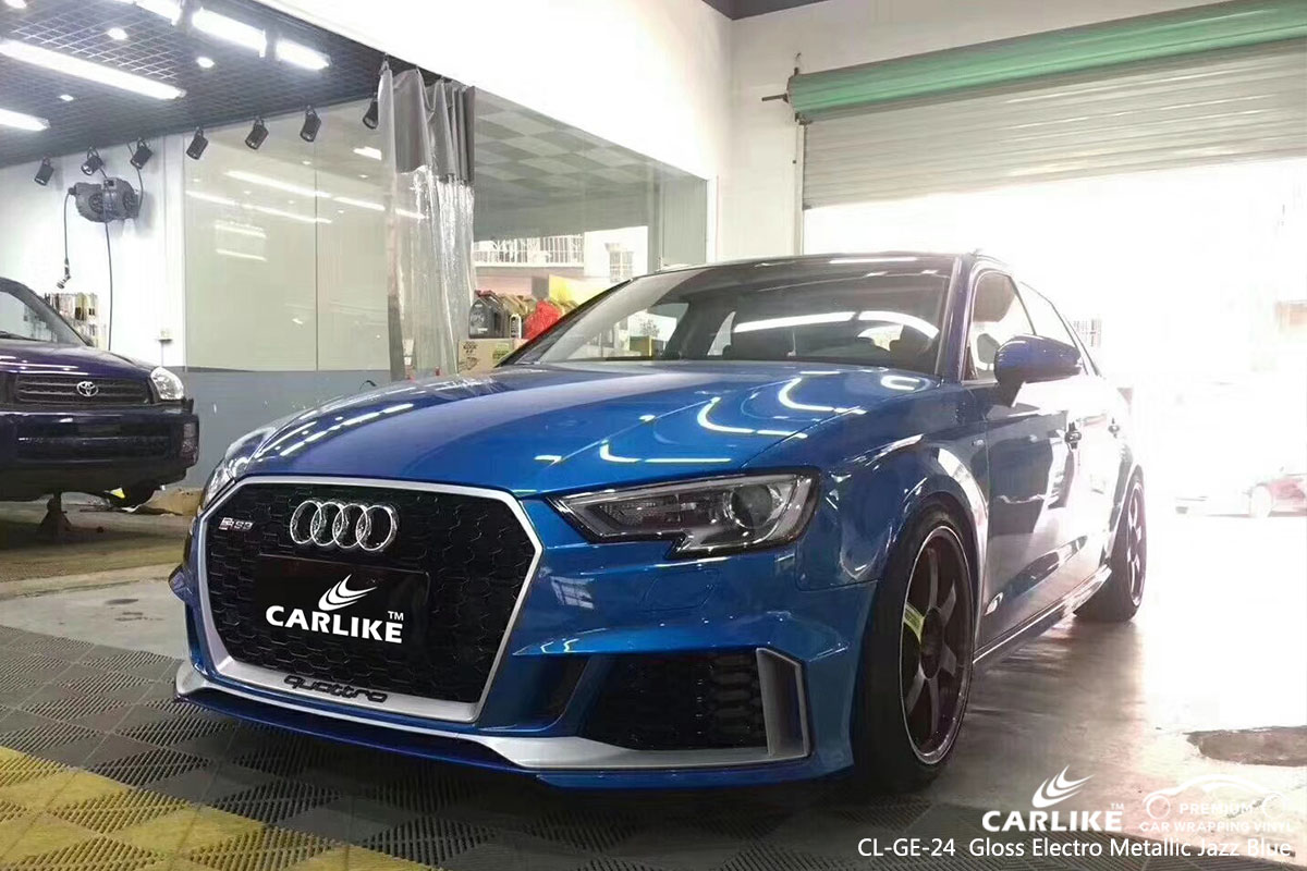 CARLIKE CL-GE-24 gloss electro metallic jazz blue car wrap vinyl for Audi