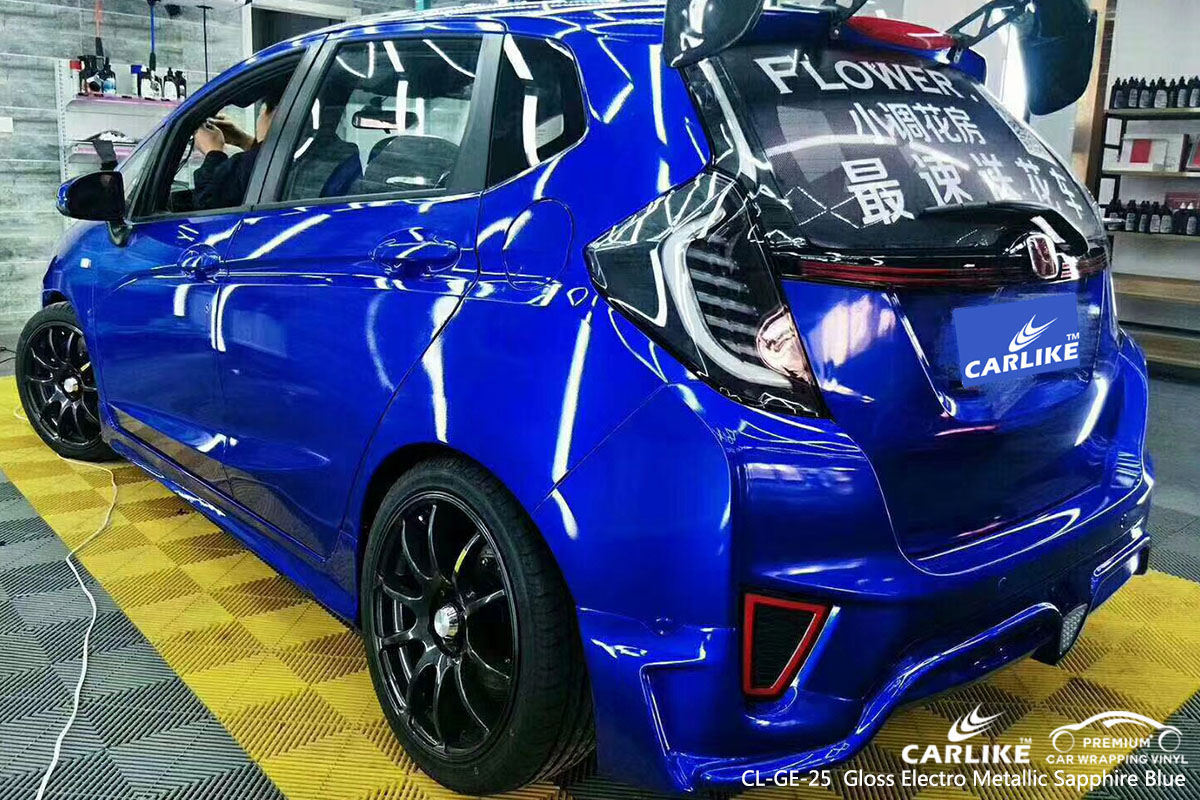 CARLIKE CL-GE-25 gloss electro metallic sapphire blue car wrap vinyl for Honda