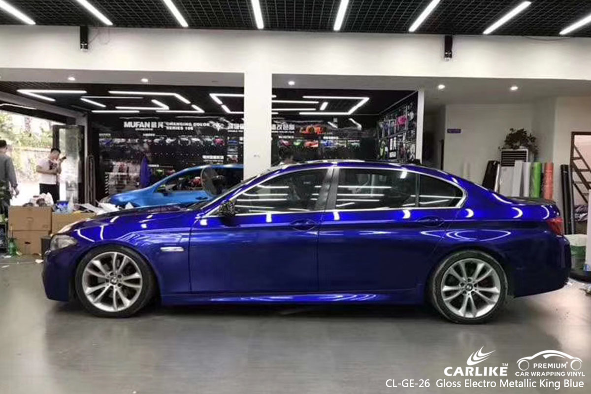 CARLIKE CL-GE-26 gloss electro metallic king blue car wrap vinyl for BMW