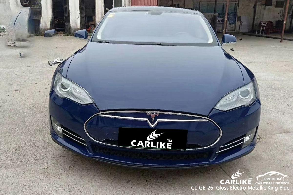 CARLIKE CL-GE-26 gloss electro metallic king blue car wrap vinyl for Tesla