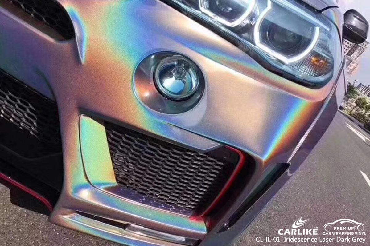 CARLIKE CL-IL-01 iridescence laser dark grey car wrap vinyl for BMW