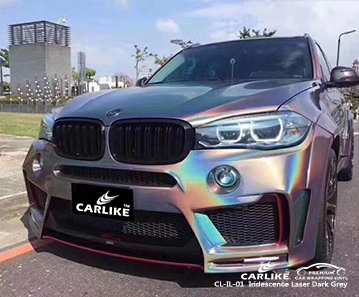 CARLIKE CL-IL-01 iridescence laser dark grey car wrap vinyl for BMW