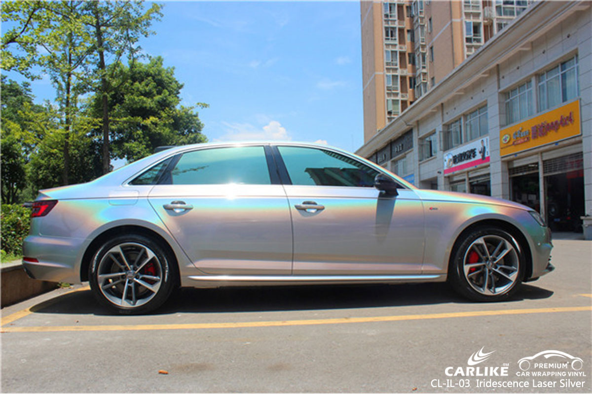 CARLIKE CL-IL-03 iridescence laser silver car wrap vinyl for Audi