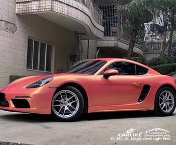 CARLIKE CL-MC-05 vinile avvolgente per auto rosa corallo magico per Porsche