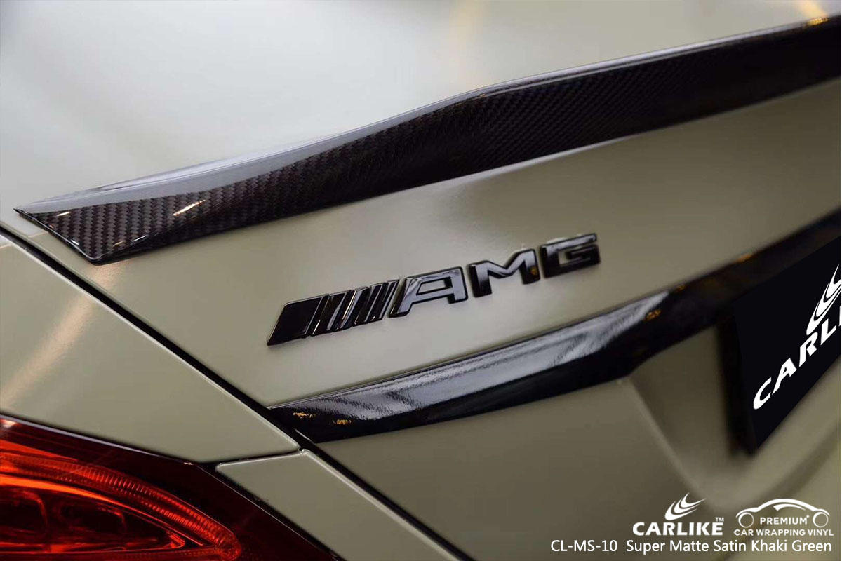 CARLIKE CL-MS-10 super matte satin khaki green car wrap vinyl for Mercedes-Benz