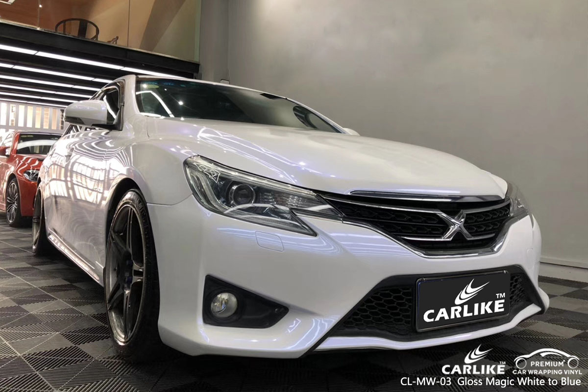 CARLIKE CL-MW-03 gloss magic white to blue car wrap vinyl for Toyota