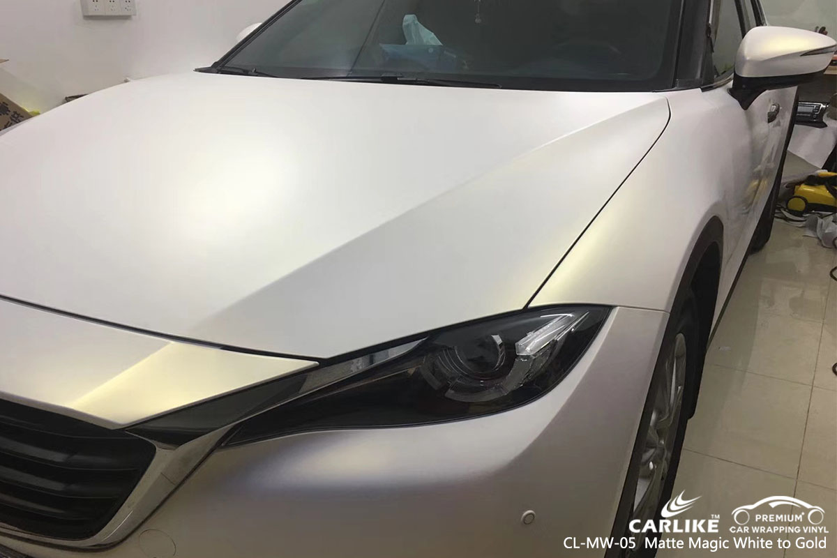 CARLIKE CL-MW-05 matte magic white to gold car wrap vinyl for Mazda