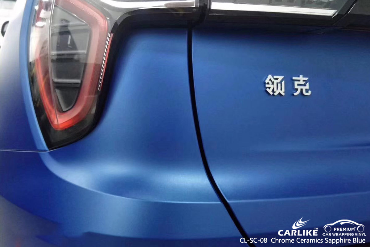 CARLIKE CL-SC-08 chrome ceramics sapphire blue car wrap vinyl for LYNK&CO