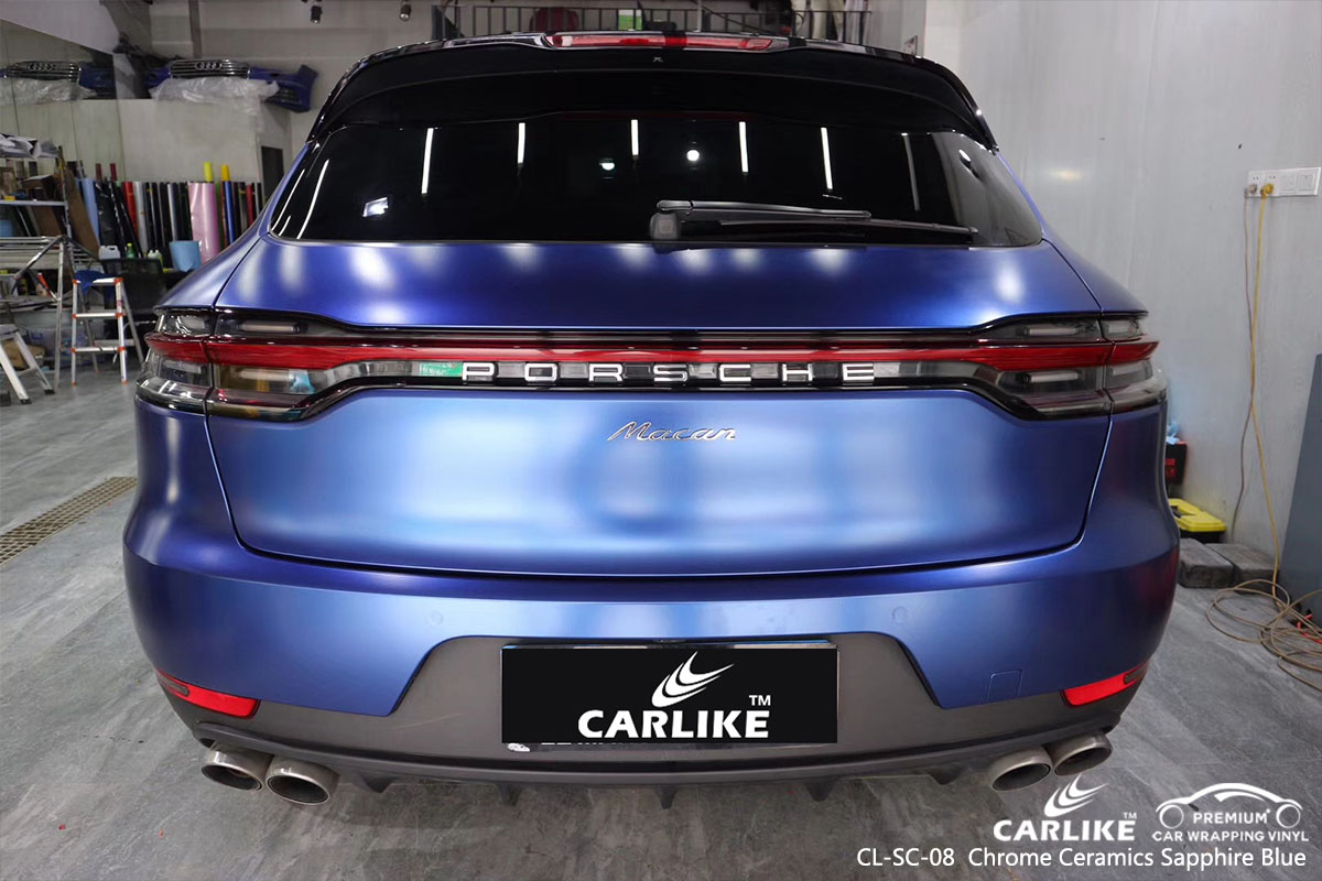 CARLIKE CL-SC-08 chrome ceramics sapphire blue car wrap vinyl for Porsche
