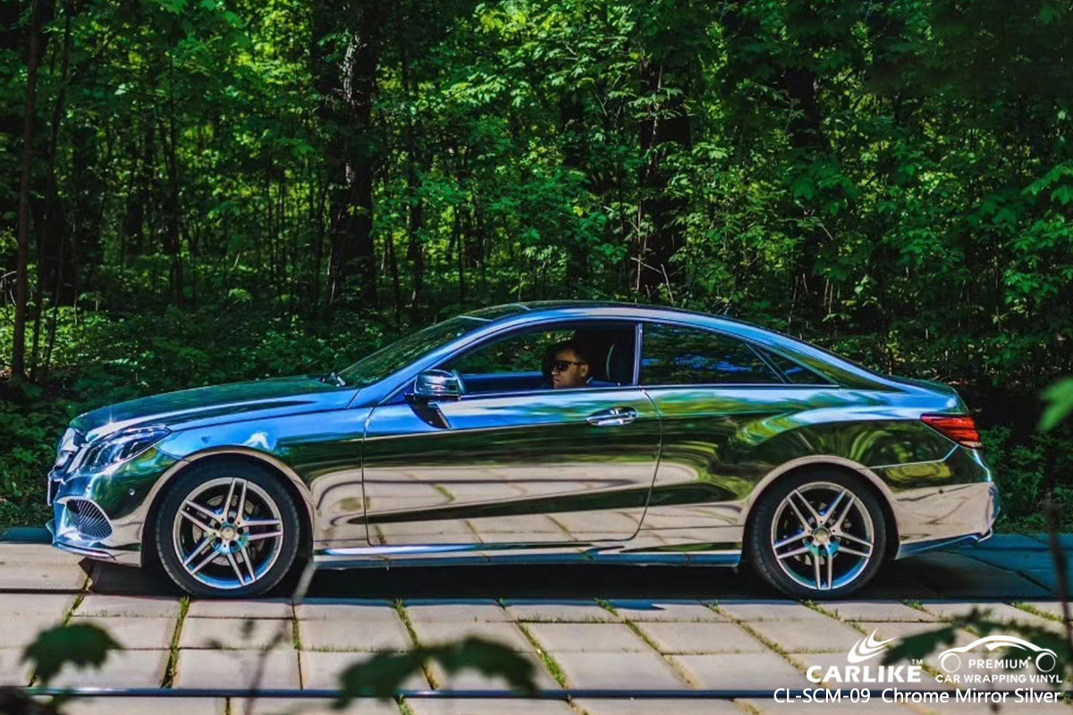 CL-SCM-09 chrome mirror silver car wrap vinyl for Mercedes-Benz