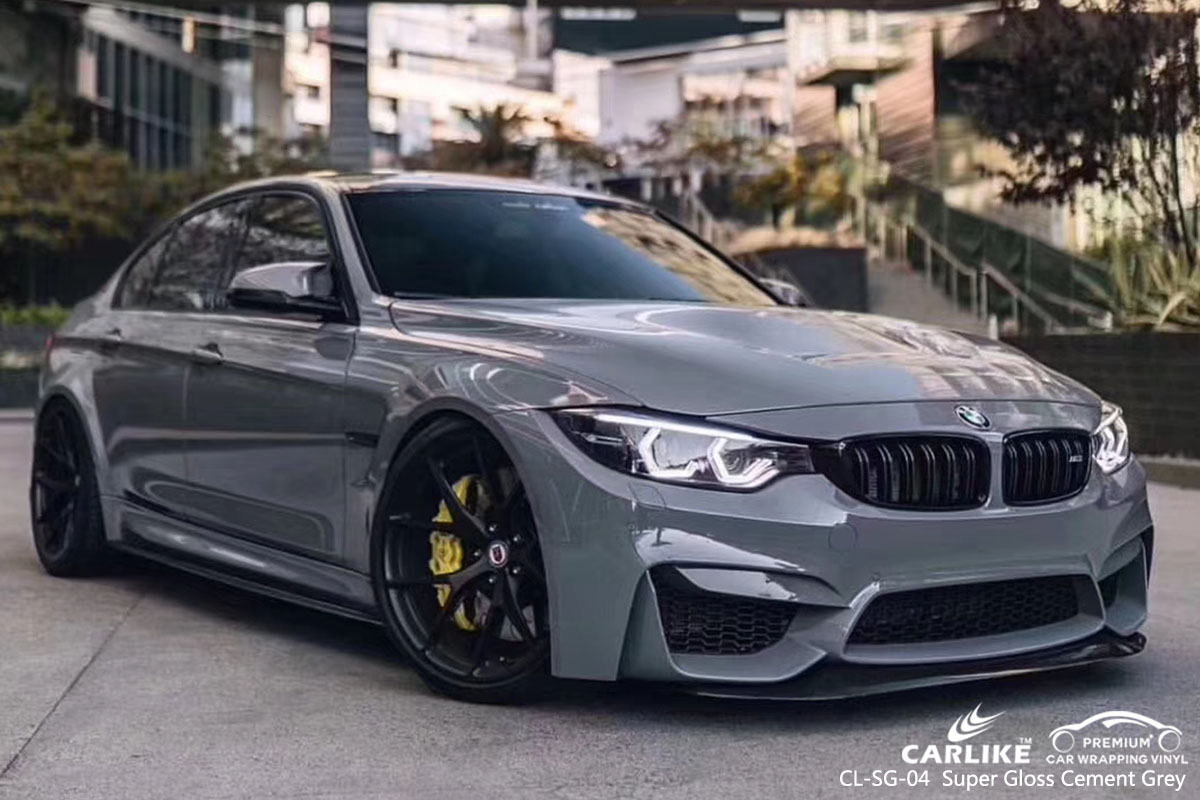 CARLIKE CL-SG-04 super gloss cement grey car wrap vinyl for BMW