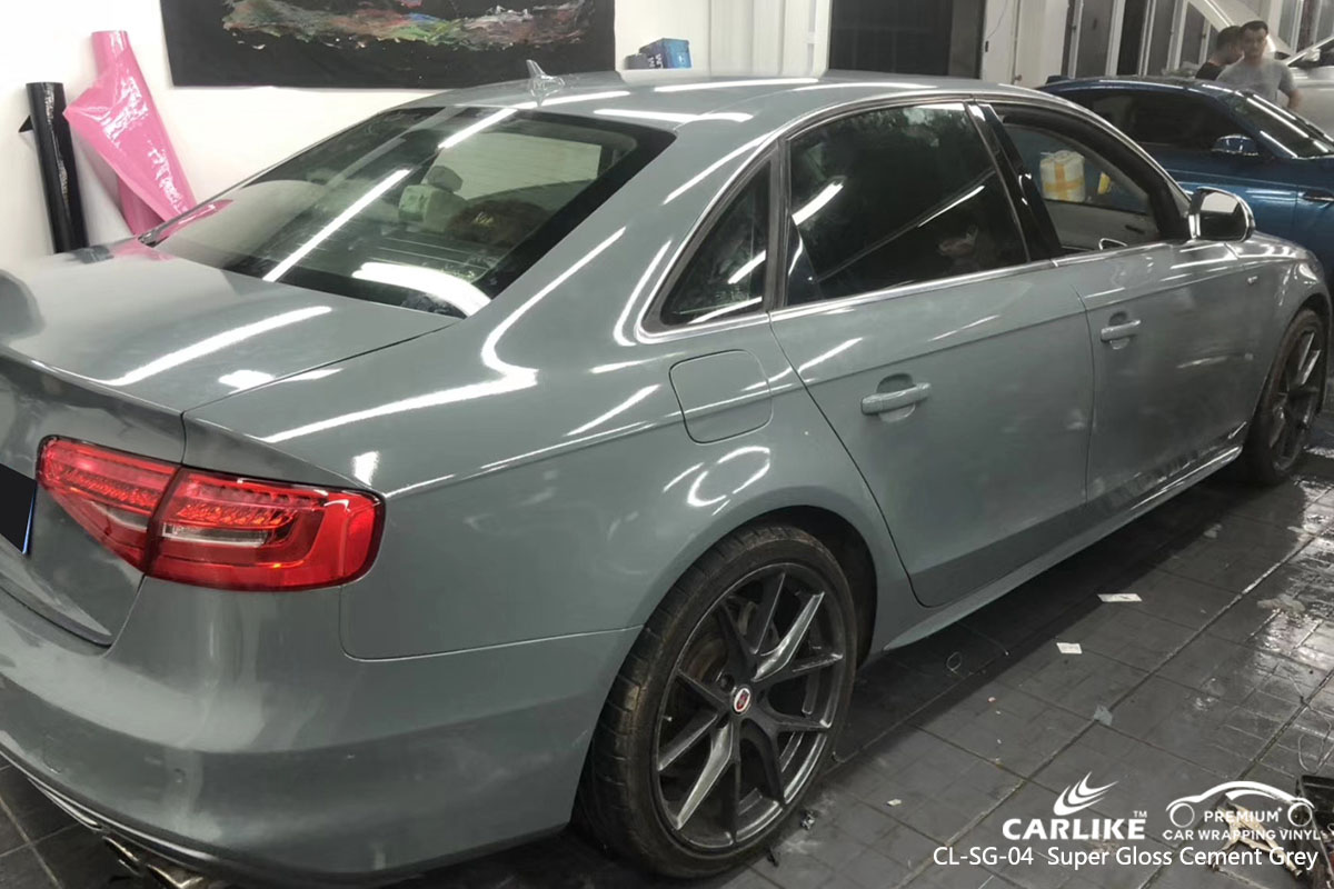 CARLIKE CL-SG-04 super gloss crystal cement grey car wrap vinyl for Audi
