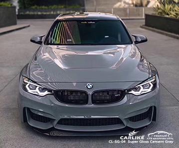 CARLIKE CL-SG-04 super gloss cement grey car wrap vinyl for BMW