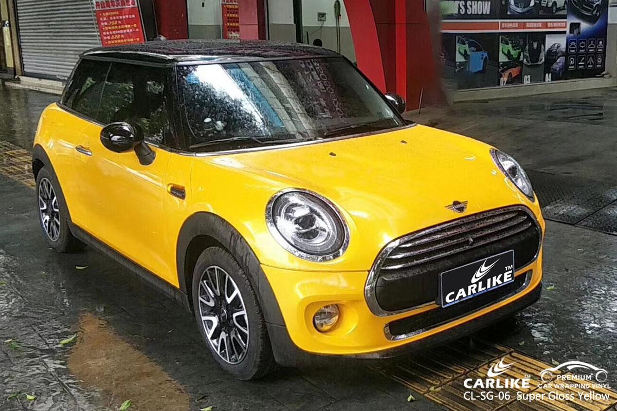 CARLIKE CL-SG-06 super gloss yellow car wrap vinyl for Mini