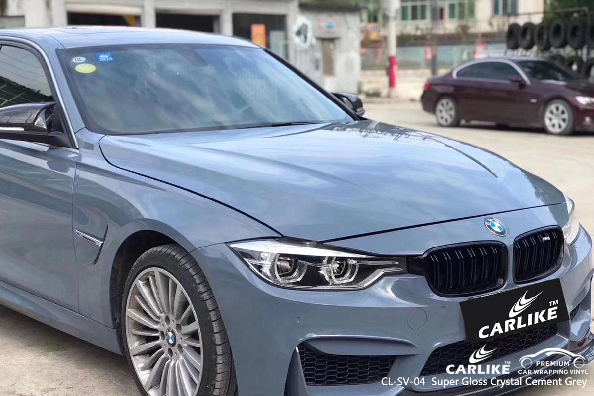 CARLIKE CL-SV-04 super gloss crystal cement grey car wrap vinyl for BMW