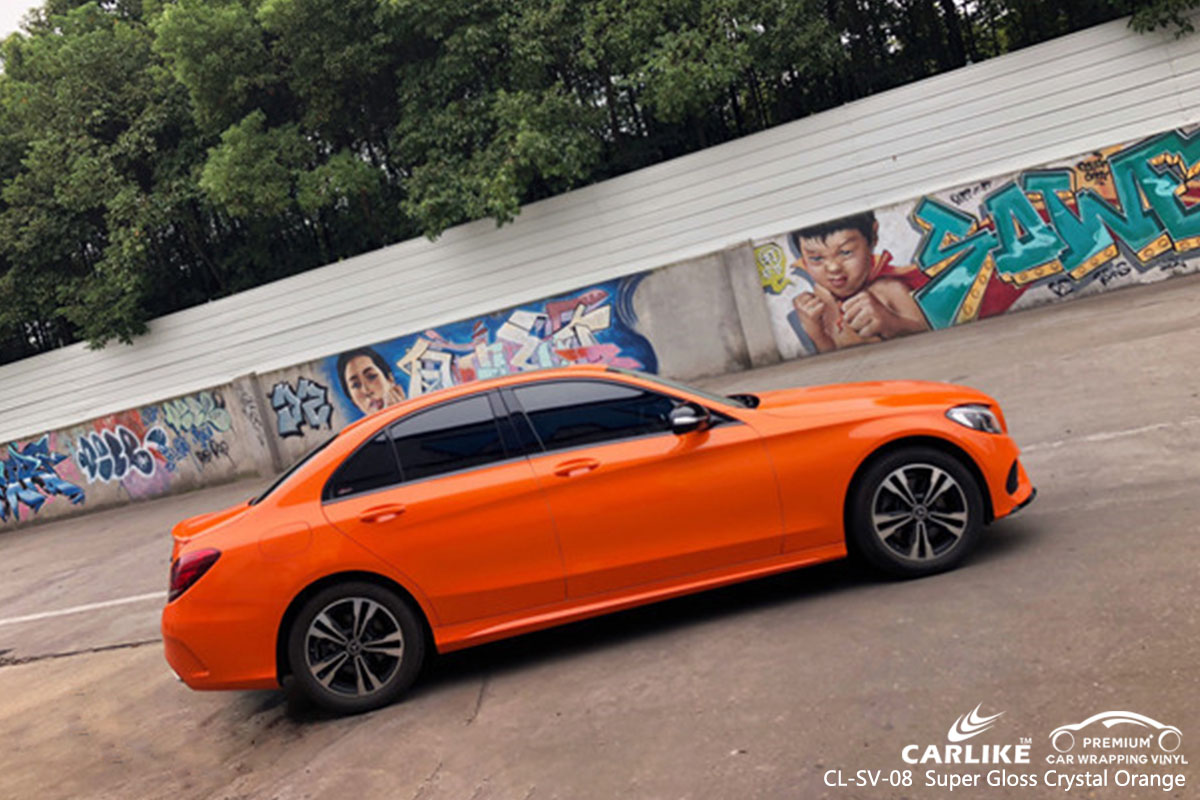 CARLIKE CL-SV-08 super gloss crystal orange car wrap vinyl for Mercedes-Benz