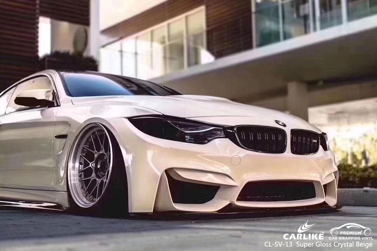 CARLIKE CL-SV-13 super gloss crystal beige car wrap vinyl for BMW