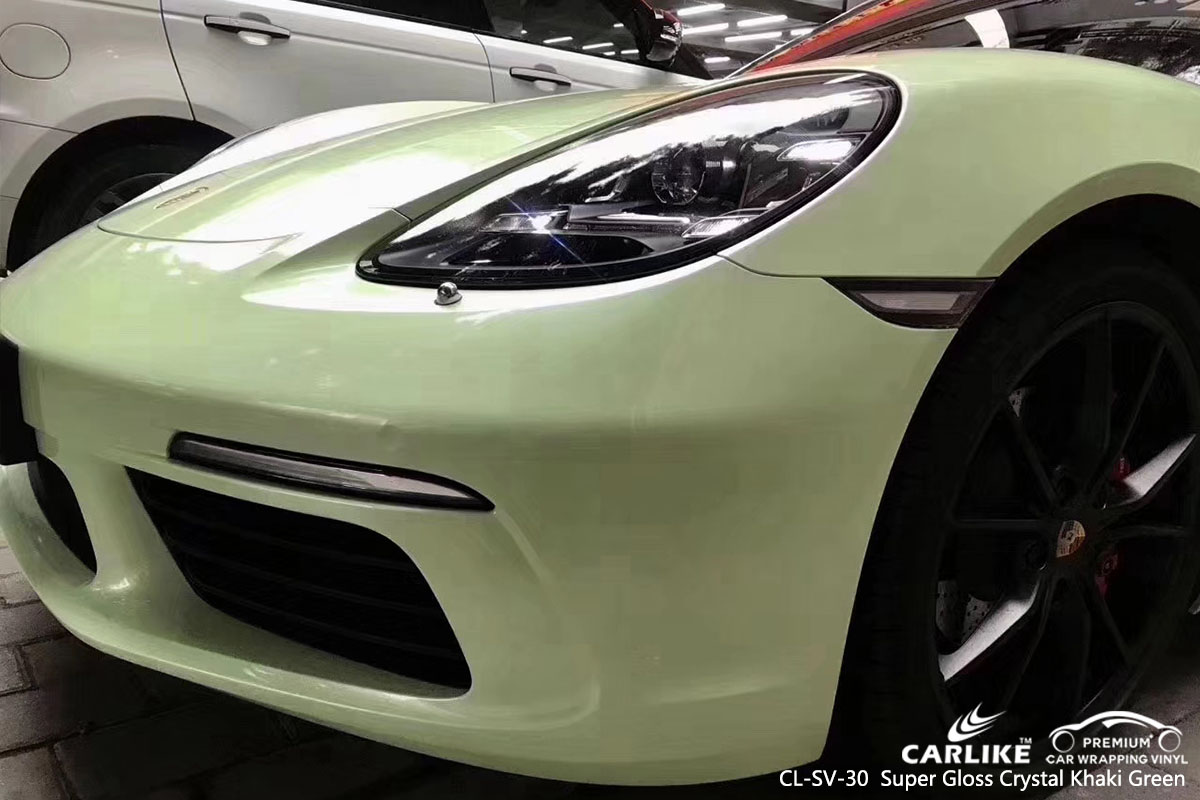 CARLIKE CL-SV-30 super gloss crystal khaki green car wrap vinyl for Porsche