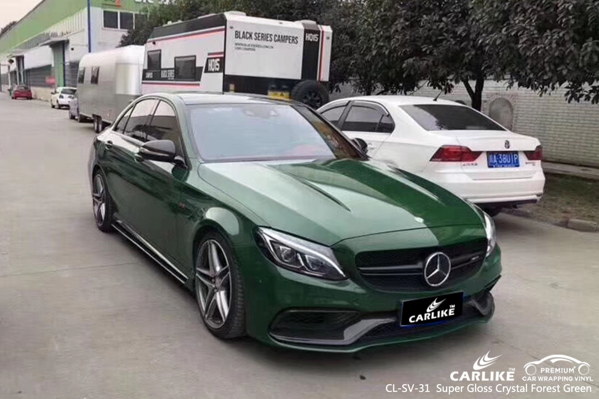 CARLIKE CL-SV-31 super gloss crystal forest green car wrap vinyl for Mercedes-Benz