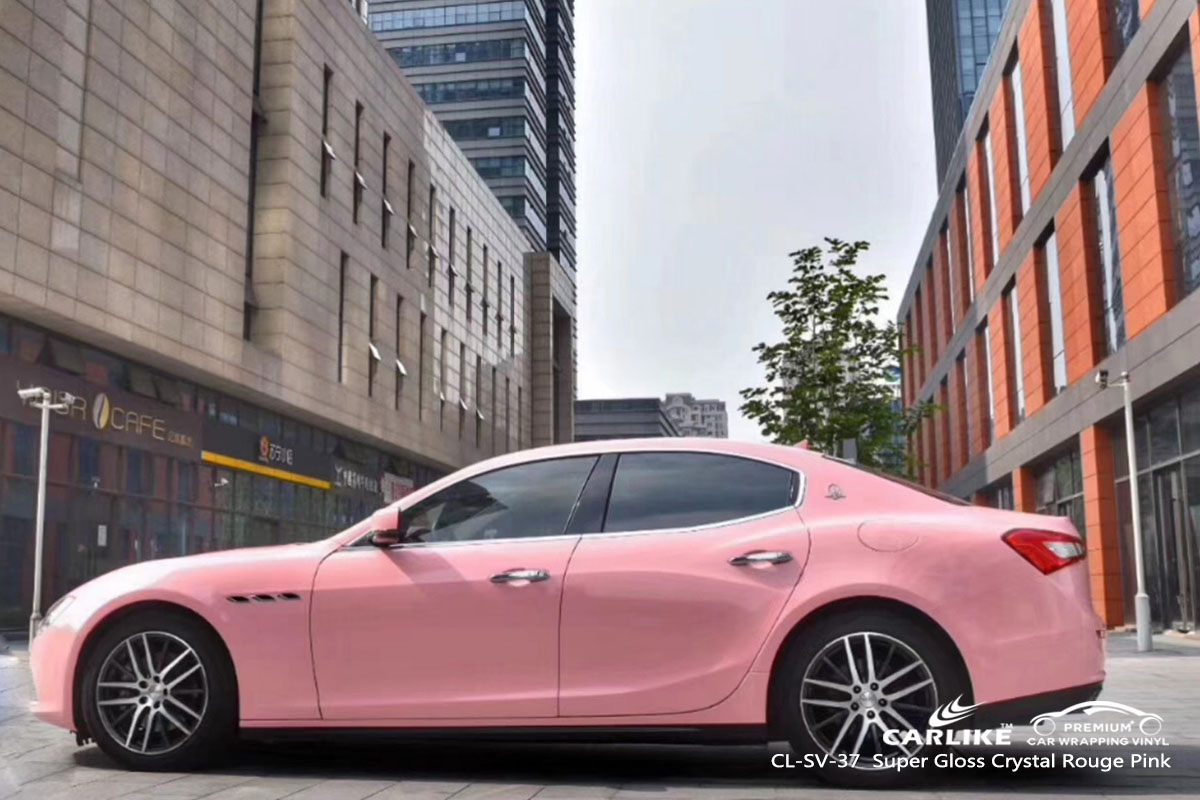 CARLIKE CL-SV-37 super gloss crystal rouge pink car wrap vinyl for Maserati