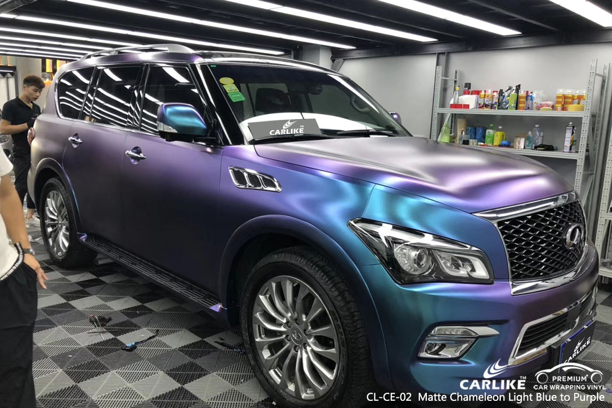 CARLIKECL-CE-02 Matte Chameleon Light Blue to Purple car wrap vinyl for Infiniti