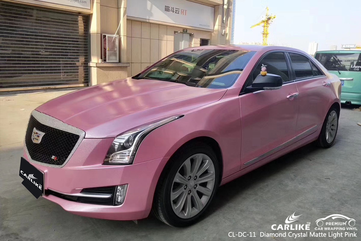 CARLIKE CL-DC-11  Diamond Crystal Matte Light Pink car wrap vinyl for Cadillac
