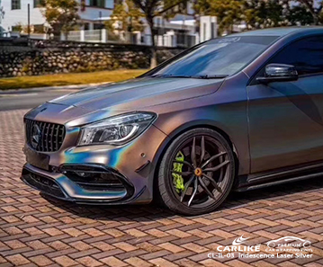 CARLIKE CL-IL-03  Iridescence Laser Silver car wrap vinyl for Benz