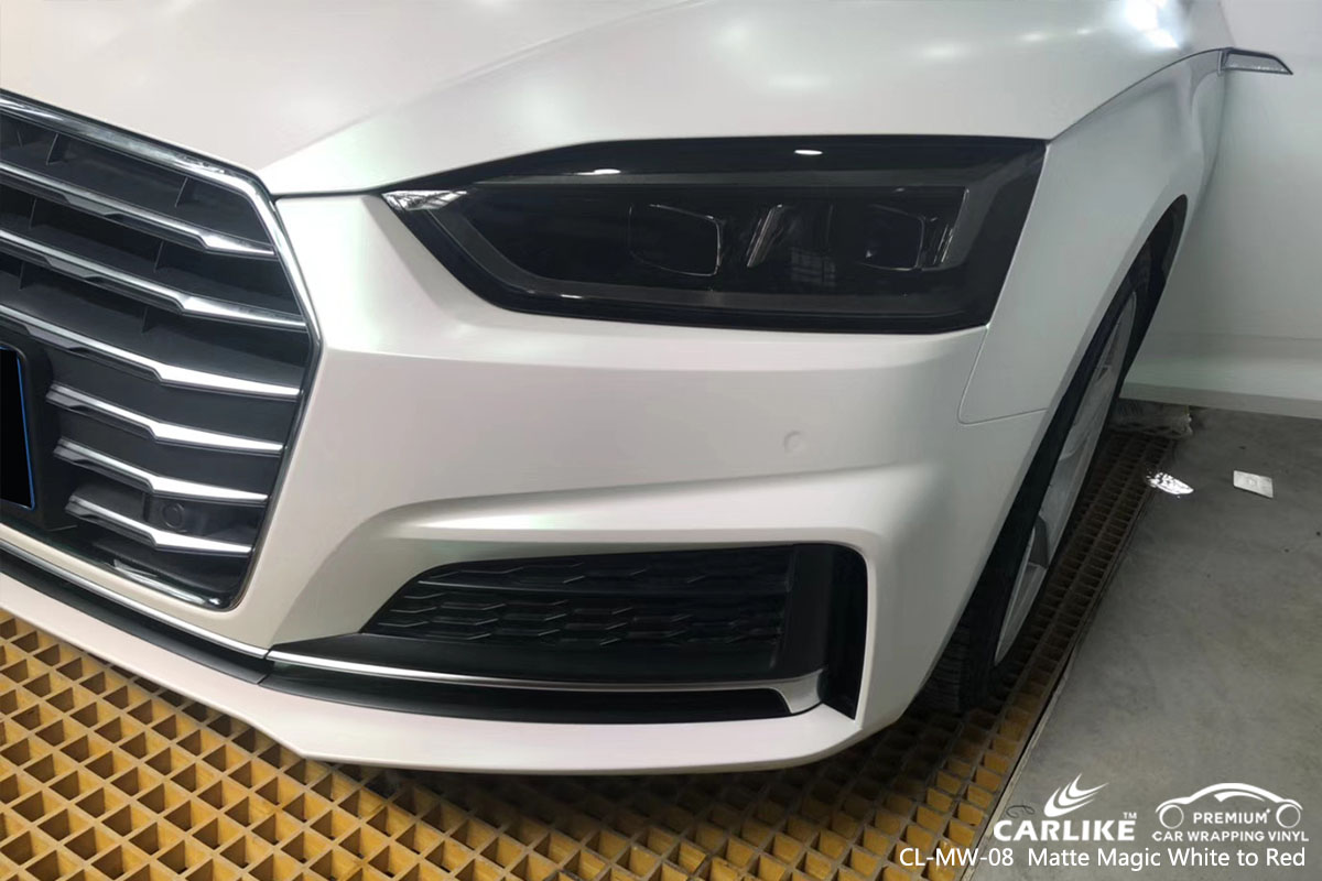 CARLIKE CL-MW-08 matte white to red car wrap vinyl for Audi
