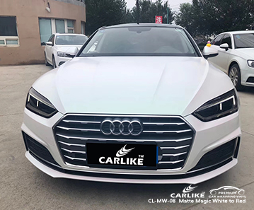 CL-MW-08 matte white to red car wrap vinyl for Audi