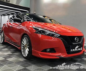 CARLIKE CL-SV-07 super gloss crystal caldo rosso auto wrap vinyl per nissan