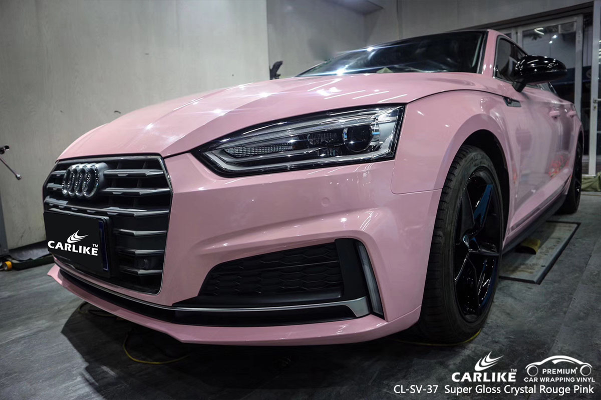 CARLIKE CL-SV-37 Super Gloss Crystal Rouge Pink car wrap vinyl for Audi