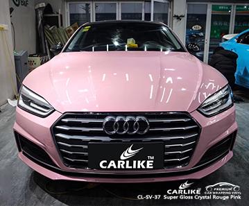 CARLIKE CL-SV-37 Super Gloss Crystal Rouge Pink car wrap vinyl for Audi