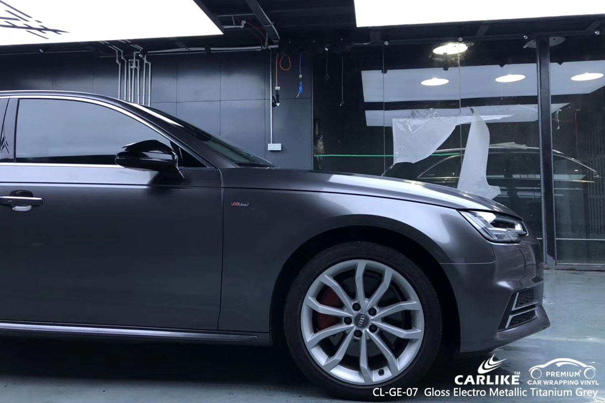 CARLIKE CL-GE-07 Gloss Electro Metallic Titanium Grey car wrap vinyl for Audi