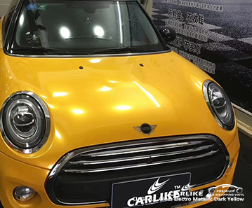 CARLIKE CL-GE-17 Gloss Electro Metallic Dark Yellow car wrap vinyl for Mini