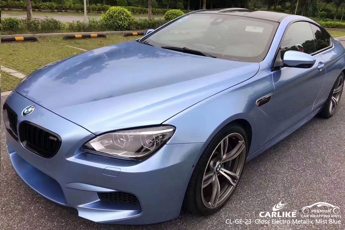 CARLIKE CL-GE-23 Gloss Electro Metallic Mist Blue car wrap vinyl for BMW