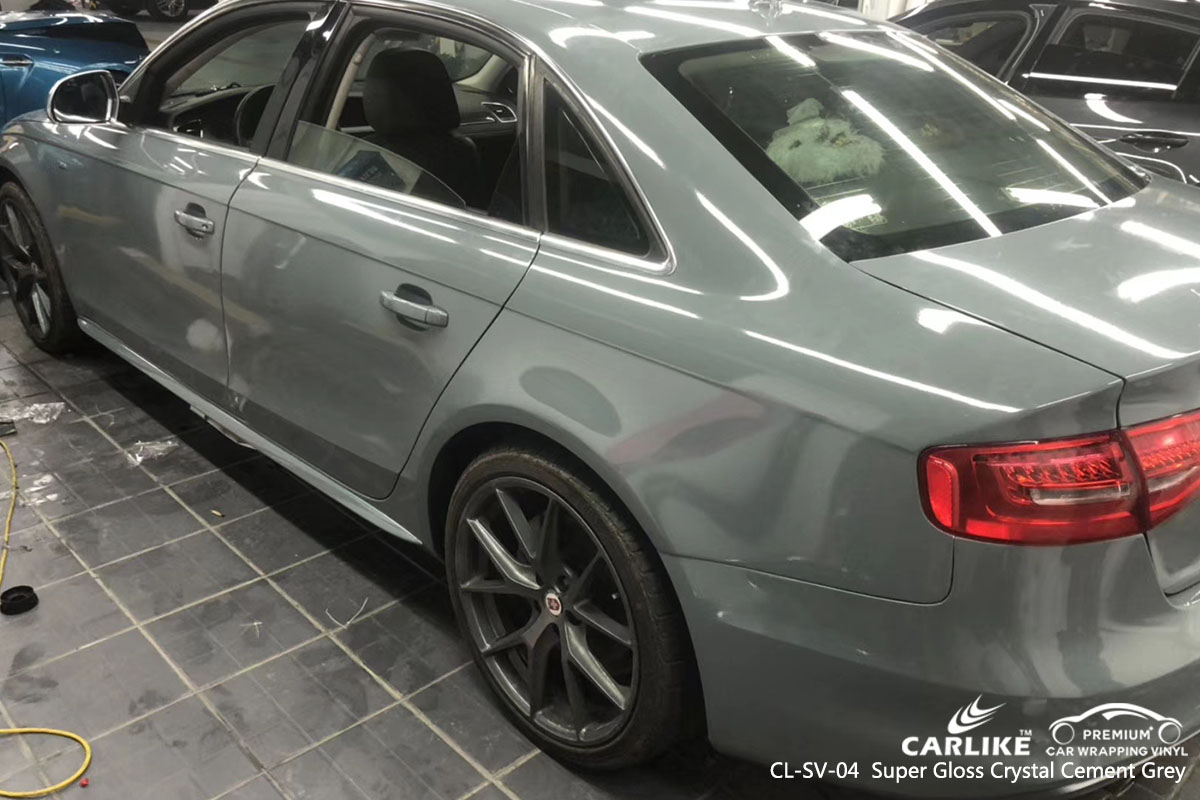 CARLIKE CL-SV-04 Super Gloss Crystal Cement Grey car wrap vinyl for Audi