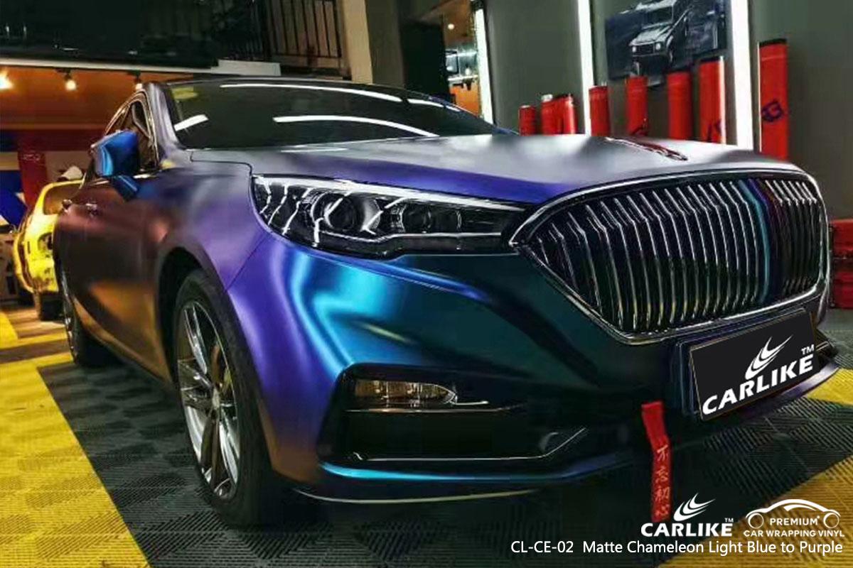 CARLIKE CL-CE-02 Chameleon Light Blue to Purple car wrap vinyl for Hong Qi Sedan