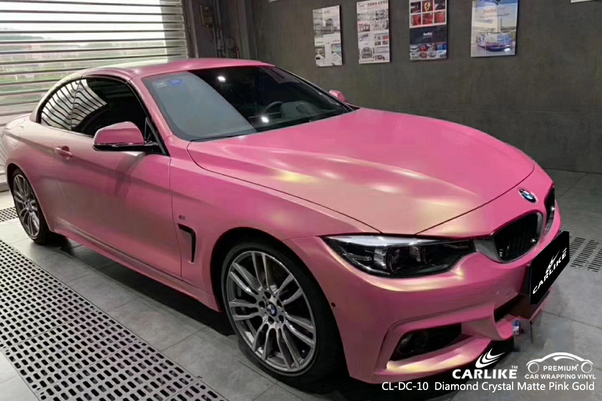 CARLIKE CL-DC-10 Diamond Crystal Matte Pink Gold car wrap vinyl for BMW