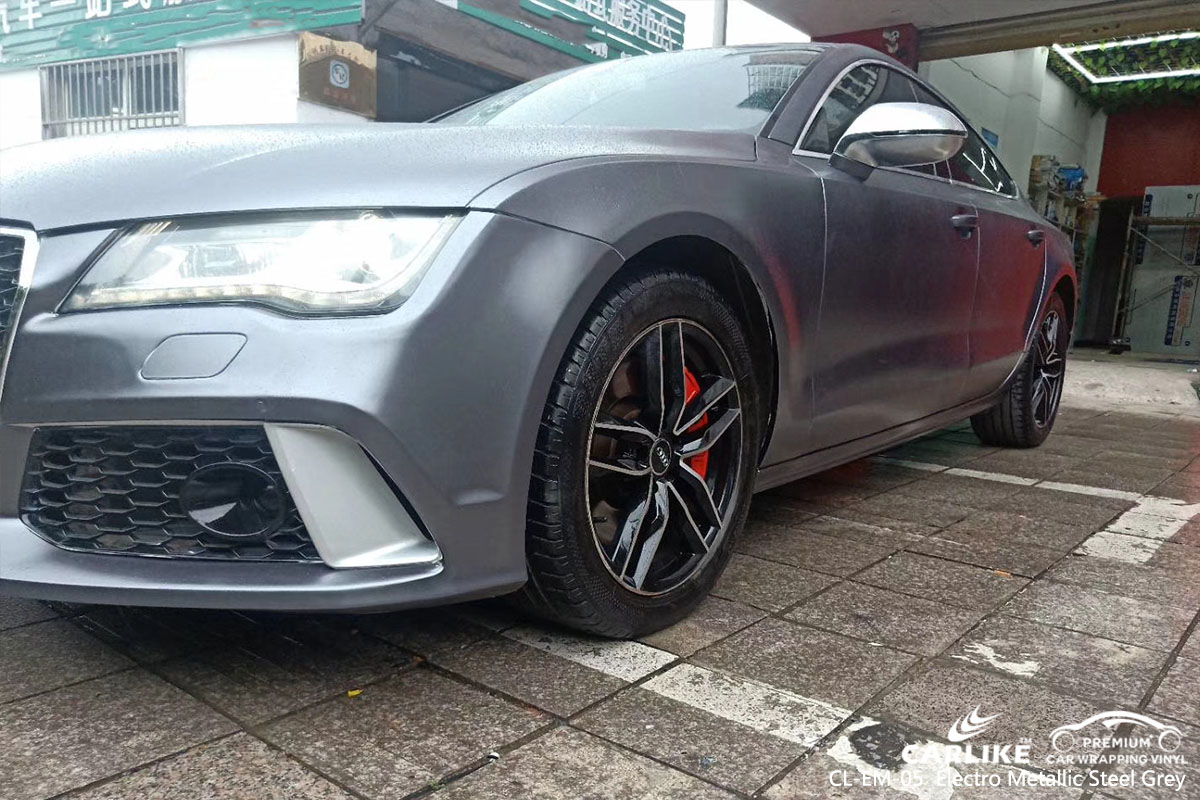 CARLIKE CL-EM-05  Matte Electro Metallic Steel Grey car wrap vinyl for Audi