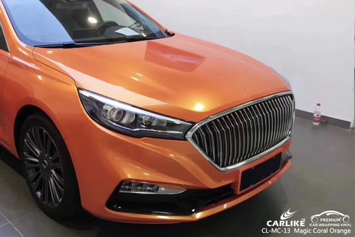 CARLIKE CL-MC-13Magic Coral Orange car wrap vinyl for Hong Qi Sedan