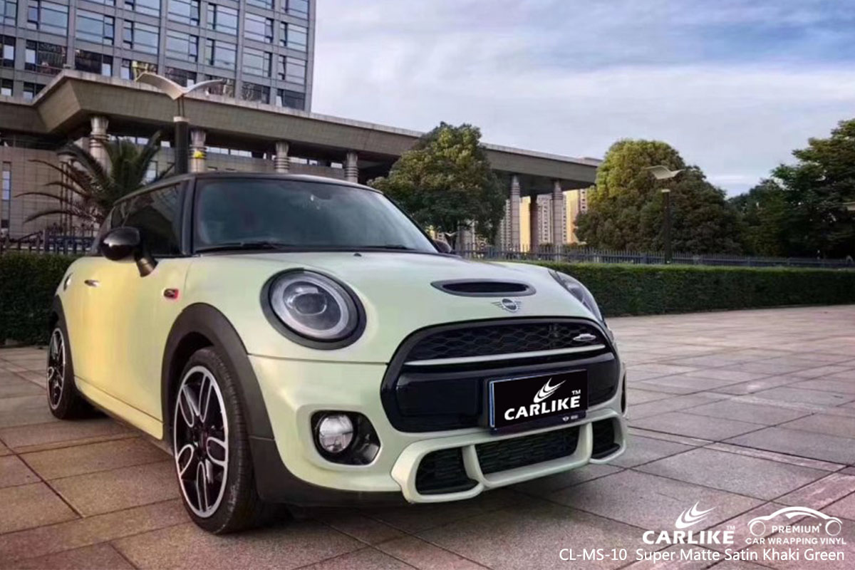 CARLIKE CL-MS-10 Super Matte Satin Khaki Green car wrap vinyl for Mini