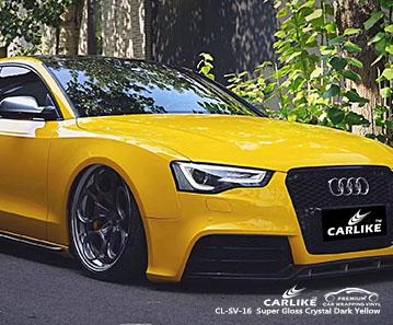 CL-SV-16 Super Gloss Crystal Dark Yellow car wrap vinyl for Audi