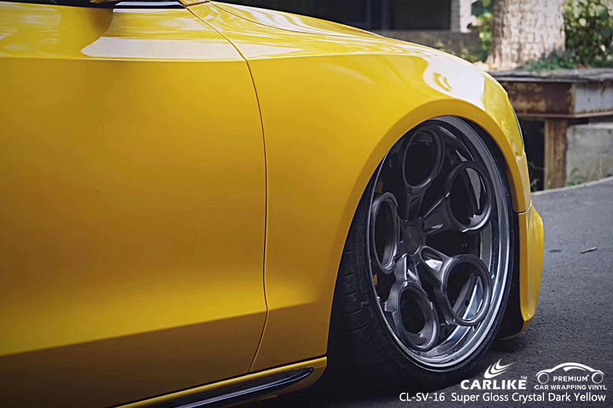 CARLIKE CL-SV-16 Super Gloss Crystal Dark Yellow car wrap vinyl for Audi