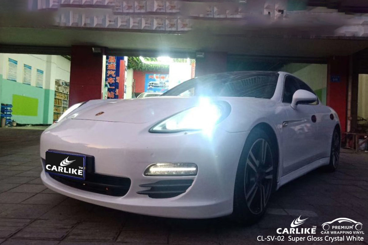 CL-SV-02 Super Gloss Crystal White car wrap vinyl for Porsche