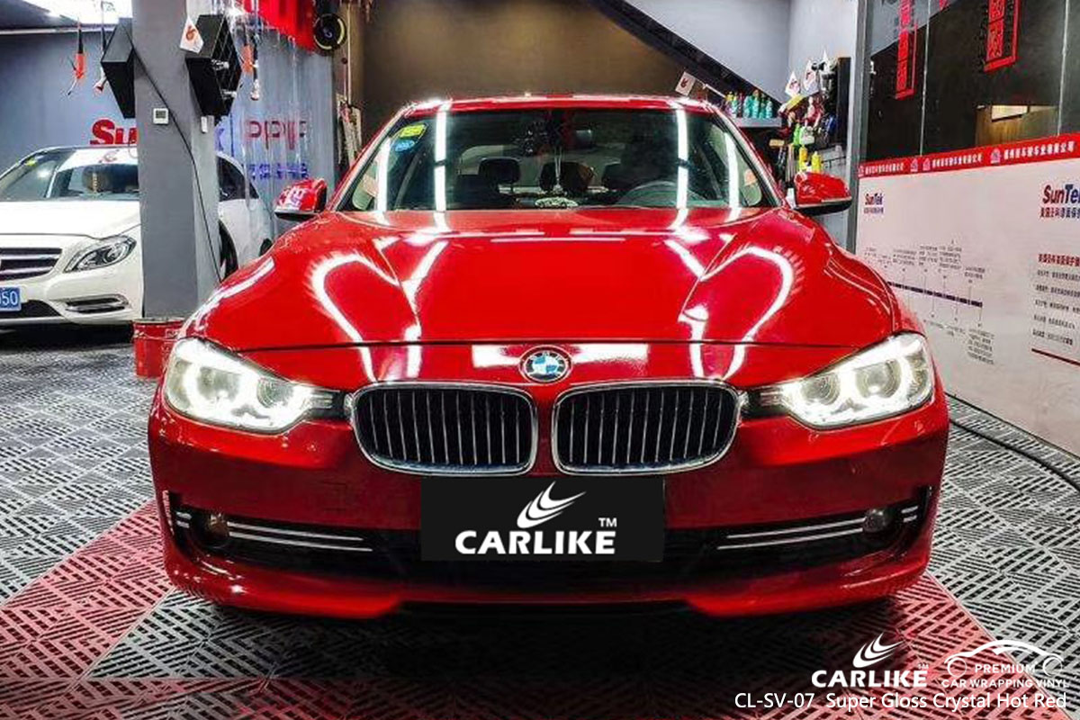 CARLIKE CL-SV-07 Super Gloss Crystal Hot Red car wrap vinyl for BMW
