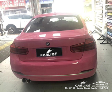 CL-SV-10 Super Gloss Crystal Hot Pink car wrap vinyl for BMW